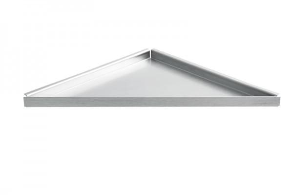 Dreieckige Edelstahlablage zum Nachrüsten gleichschenklig
