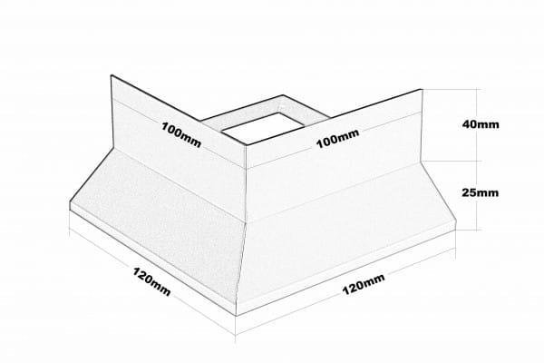 Eckstück Y-Form Dickbett Höhe 65 Zeichnung