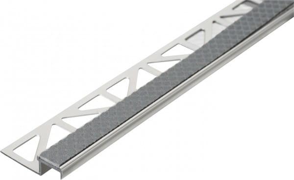 Treppenprofil aus Aluminium mit Antirutschbeschichtung 250 cm 9 mm stahlgrau Aluminium/PVC