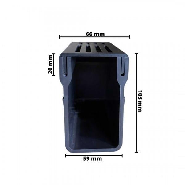 Bemaßung UDP 65 Entwässerungsrinne