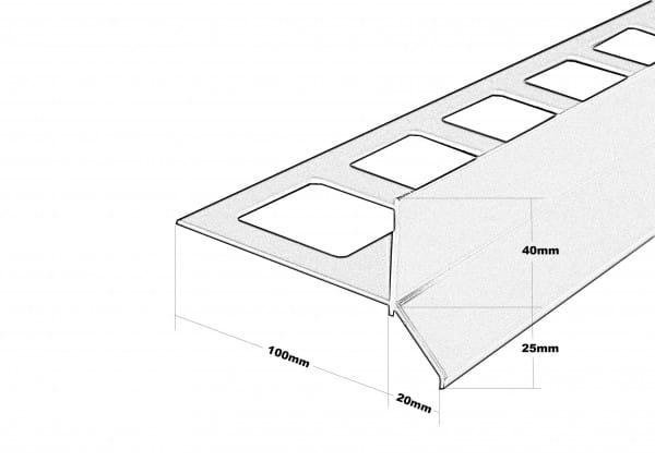 Balkonprofil Y-Form Dickbett Zeichnung bemaßt 65 mm