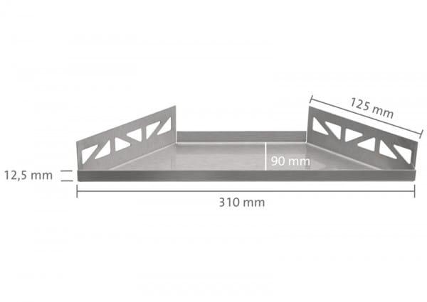 Edelstahlablage trapezförmig 310 bemaßt