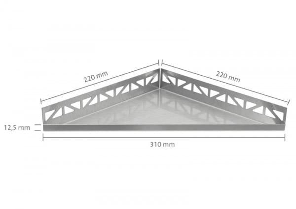 Dreieckige Edelstahlablage 310 bemaßt